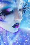 Charming portrait of female with creative body art closed eyes a Stock Image