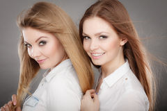 Charming positive female siblings. Stock Images