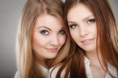 Charming positive female siblings. Stock Image