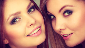 Charming positive female siblings. Royalty Free Stock Photography
