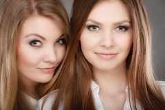 Charming positive female siblings. Stock Photos