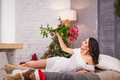 Charming pregnant woman relaxing stock photography