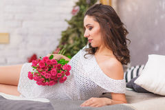 Charming pregnant woman relaxing royalty free stock image