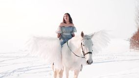 Charming pretty dark-haired lady in long gray vintage dress with bare shoulders sits astride horse and meticulously