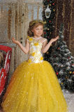 Charming princess girl in a yellow dress Royalty Free Stock Photography