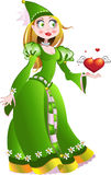 Charming princess in green dress give a heart Stock Photography