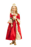Charming Princess Holding Red Rose Royalty Free Stock Photography