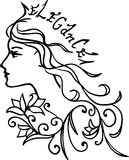 Charming princess with long hair, a crown `Elegance` and floral ornament. Vector illustration. Isolated silhouette Stock Photography