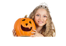Charming Princess with Pumpkin Holding the Big Banner Royalty Free Stock Photography