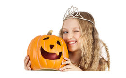 Charming Princess with Pumpkin Holding the Sign Stock Photo