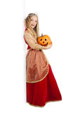 Charming Princess with Pumpkin Standing near the Big Banner Royalty Free Stock Photo