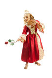 Charming Princess Showing Red Rose Royalty Free Stock Image