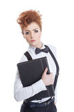 Charming red-haired businesswoman posing at camera Royalty Free Stock Image