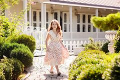 Beautiful young girl outdoors. stock images