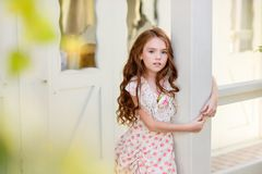 Beautiful young girl outdoors. royalty free stock images