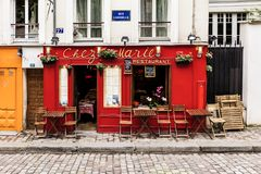 Charming restaurant Chez Marie on Montmartre hill. Paris, France Royalty Free Stock Image