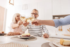Charming retired couple enjoying dinner with son at home Royalty Free Stock Photos