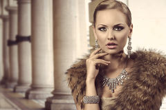 Charming rich fashion lady Stock Image