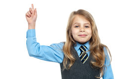 Charming school girl with raised arm Royalty Free Stock Photo