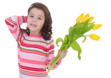 Charming schoolgirl pereds bouquet Stock Photography