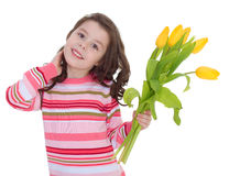 Charming schoolgirl pereds bouquet Stock Photos