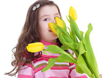 Charming schoolgirl pereds bouquet Stock Photos