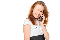 Charming secretary with a phone in his hand Royalty Free Stock Photo