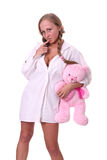 Charming, sexy girl with soft toy Stock Photography