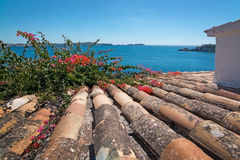 Charming shabby Mallorca roof tiles Royalty Free Stock Photos