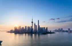 Charming shanghai skyline in sunrise Royalty Free Stock Photo
