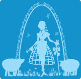 Charming shepherdess with a staff Royalty Free Stock Photos