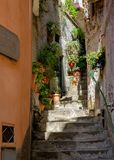 Charming side street in Vernazza Stock Images