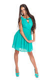 Charming slim brunette in a turquoise dress Royalty Free Stock Image