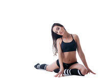 Charming slim woman doing fitness exercise royalty free stock photos