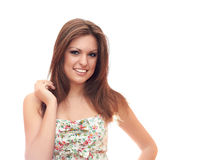 Charming smile. Smiling girl with long hair on a white background Stock Photography