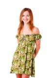 Charming smile girl in green dress Stock Photo