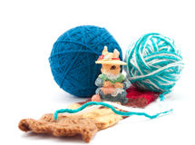 The charming  squirrel with knitting Stock Photos