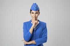 Charming Stewardess Dressed In Blue Uniform Stock Image