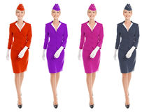 Charming Stewardess Dressed In Uniform With Color Variants. Stock Images