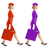 Charming Stewardess In Uniform With Suitcase. Color Variants Royalty Free Stock Photography