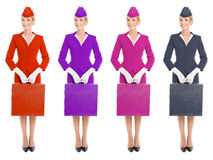 Charming Stewardess In Uniform With Suitcase. Color Variants Royalty Free Stock Image