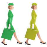 Charming Stewardess In Uniform With Suitcase. Color Variants Royalty Free Stock Photos