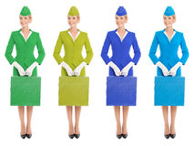 Charming Stewardess In Uniform Witn Suitcase. Color Variants Stock Photography