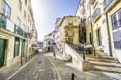 Charming street of historic Alfama, Lisbon, Portugal Stock Photo