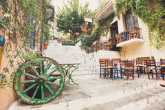 Charming street in the old district of Plaka in Athens, Greece. Beautiful street in the old district of Plaka in Athens, Greece Royalty Free Stock Images