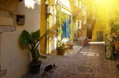 Charming streets Chania in rays of the setting sun of greek islands. Crete stock image