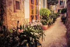 Charming streets of old mediterranean towns. In spain Royalty Free Stock Photos