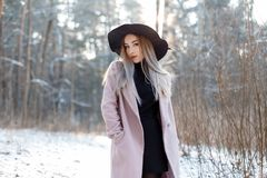 Charming stylish young woman in a luxurious hat in a pink coat in a knitted golf in a skirt posing in the winter forest. On a background of snowy trees on a stock photography