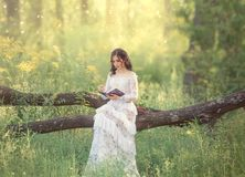 Charming sweet girl with dark hair and bare shoulders in a gorgeous vintage white dress sits on a fallen tree and reads. An interesting book of fairy tales stock photography