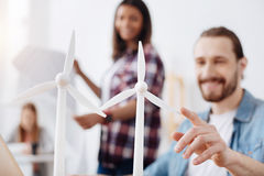 Charming talented engineer excited about new efficient energy source Stock Images